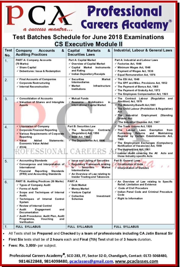 PCA CS Executive Module II June 2018 | Professional Careers Academy ...