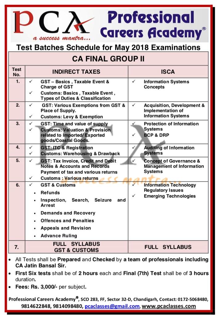 PCA CA FINAL GROUP II TEST SERIES | Professional Careers Academy (PCA)